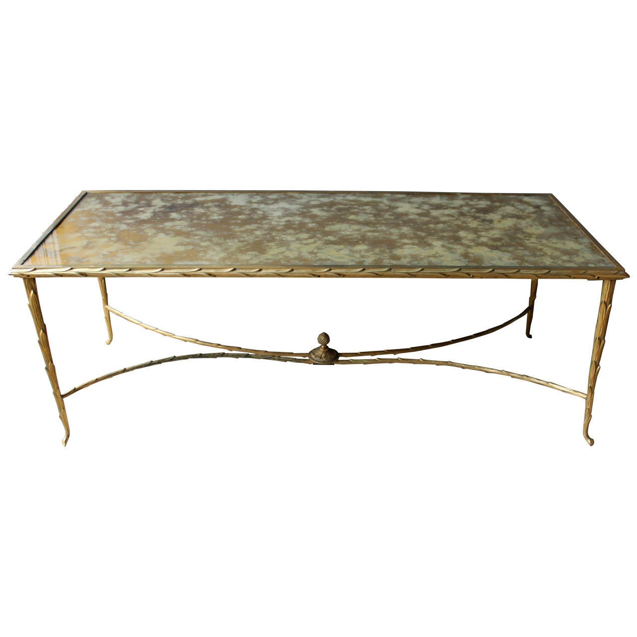 Bronze And Antique Mirror Cocktail Table By Maison Bagues France 20th Century At 1stdibs