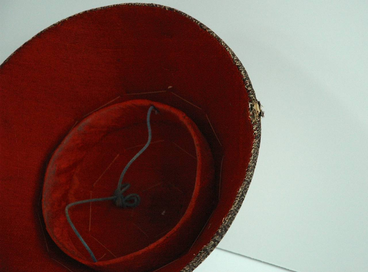 Chinese Mandarin Summer Hat and Hat Box, China, 19th Century For Sale