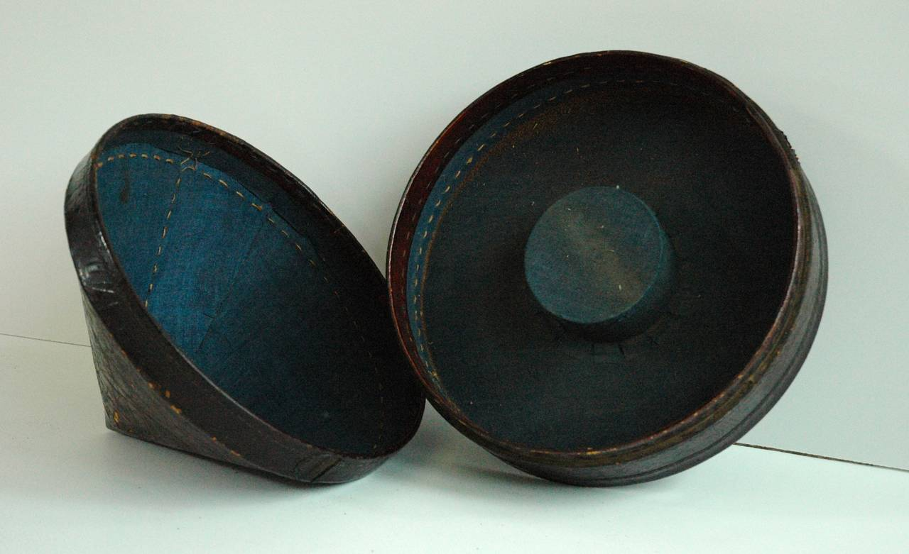Glass Mandarin Summer Hat and Hat Box, China, 19th Century For Sale