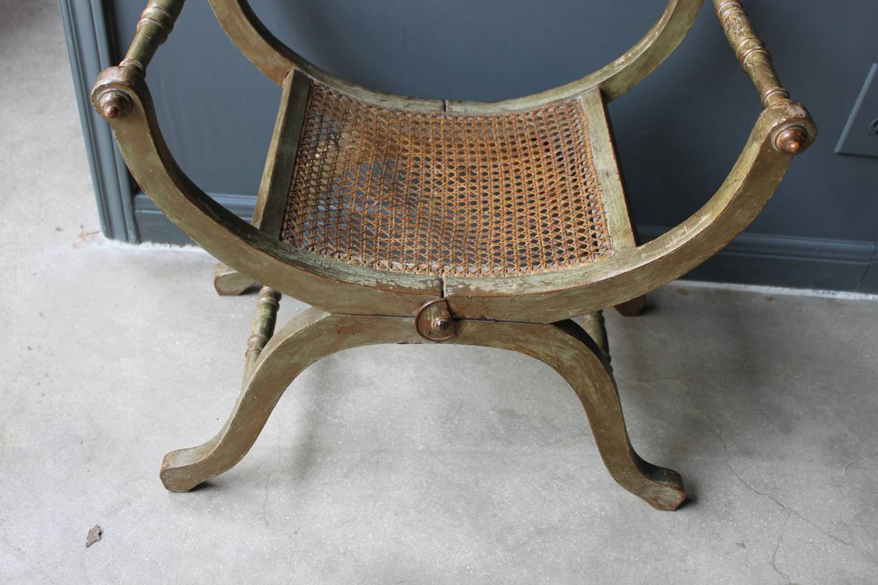 Century French Gilt And Painted Wood And Caned Curule Tabouret Stool. Full resolution‎  picture, nominally Width 1280 Height 853 pixels, picture with #604D37.