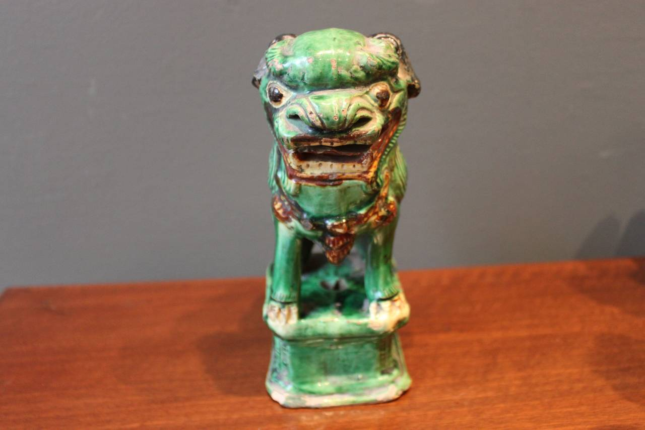 Green Terra Cotta : Collection of six green glazed terra cotta foo dogs