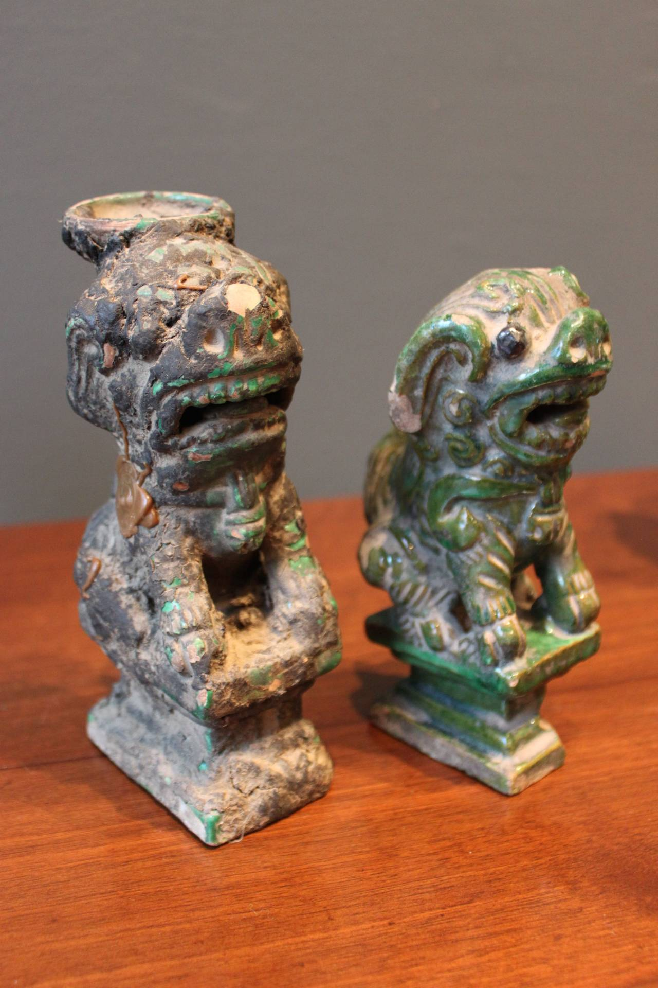 collection of six 6 green glazed terra cotta foo dogs china at 1stdibs. Black Bedroom Furniture Sets. Home Design Ideas