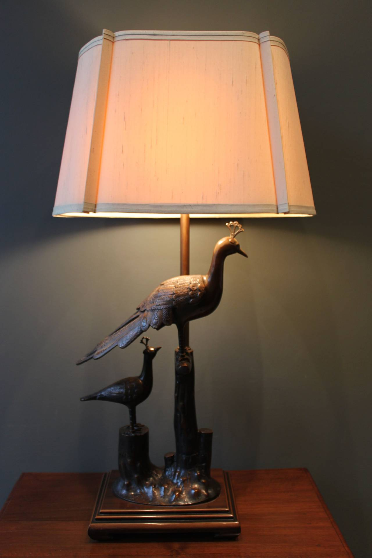 Beautiful Bronze Peacock Lamp On An Asian Wood Base With Original Shade And  Finial.