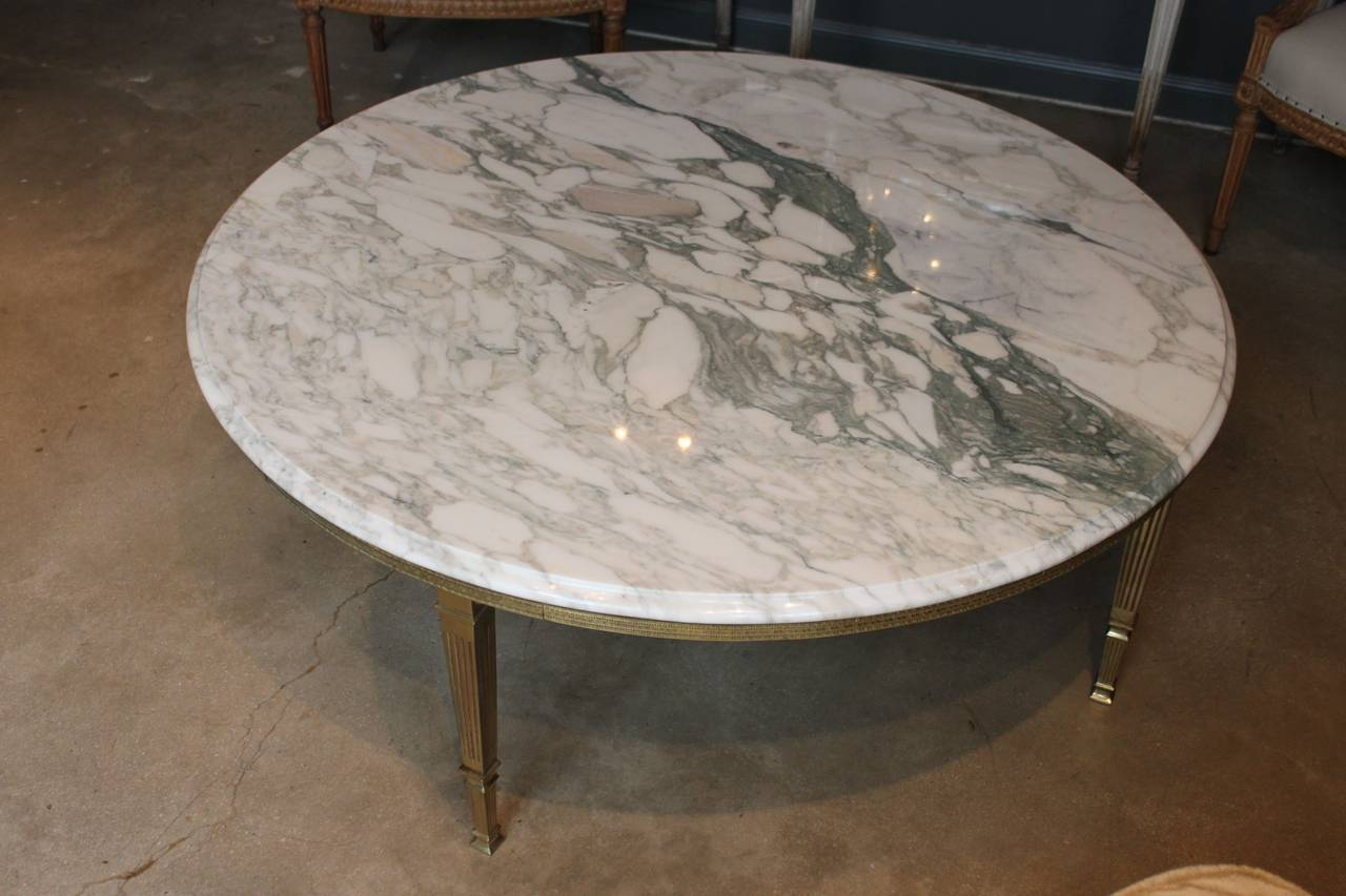Mid Century Round White Marble And Brass Coffee Or Cocktail Table At 1stdibs