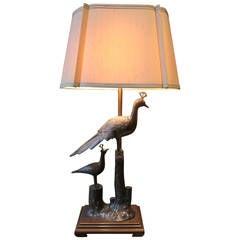 Mid-Century Hollywood Regency Marbro Bronze Peacock Lamp