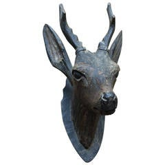 Carved Wood Sculpture of a Deer Mount Head in Black Forest Style, 19th Century