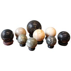Collection of Vintage Stone and Marble Orb Sculptures