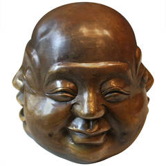 Japanese Brass Sculpture of Buddha Head With Four Faces, 19th Century