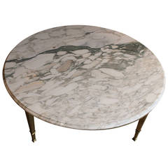 Mid-Century Round White Marble and Brass Coffee or Cocktail Table