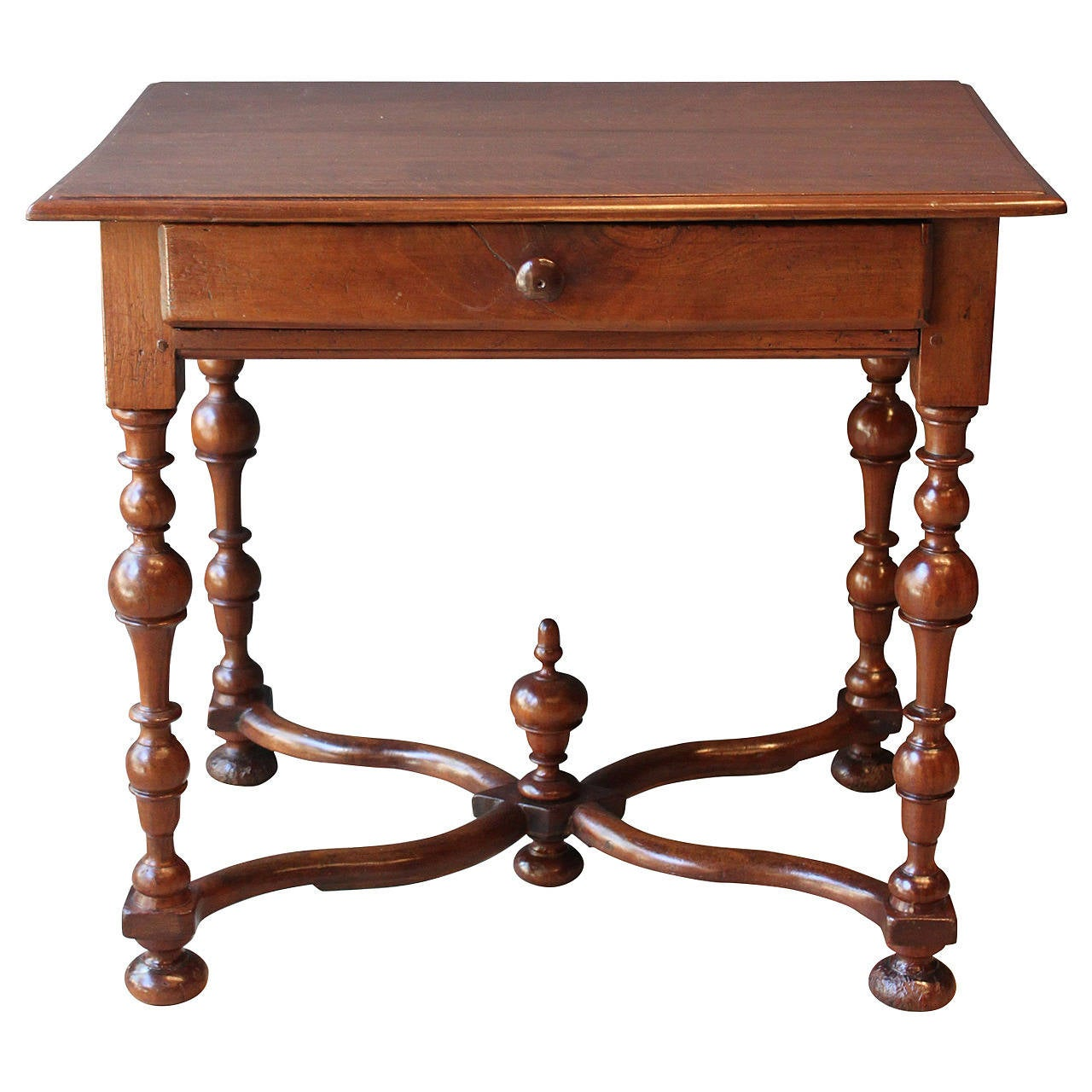 louis xiii style walnut side table with x stretcher. Black Bedroom Furniture Sets. Home Design Ideas