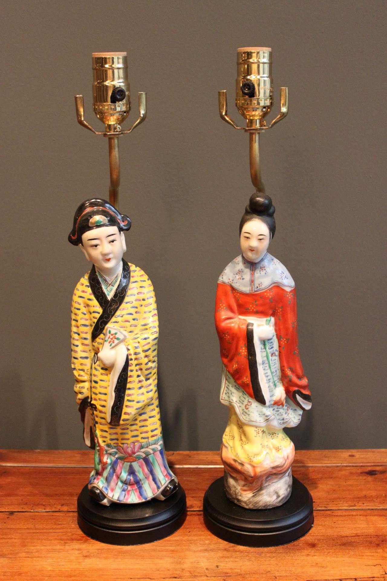 Pair Of Porcelain Lamps Of Male And Female Chinese Figures