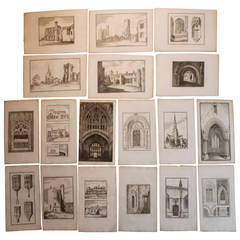 Set of 32 English Copperplate Engravings of Cathedrals, 18th Century