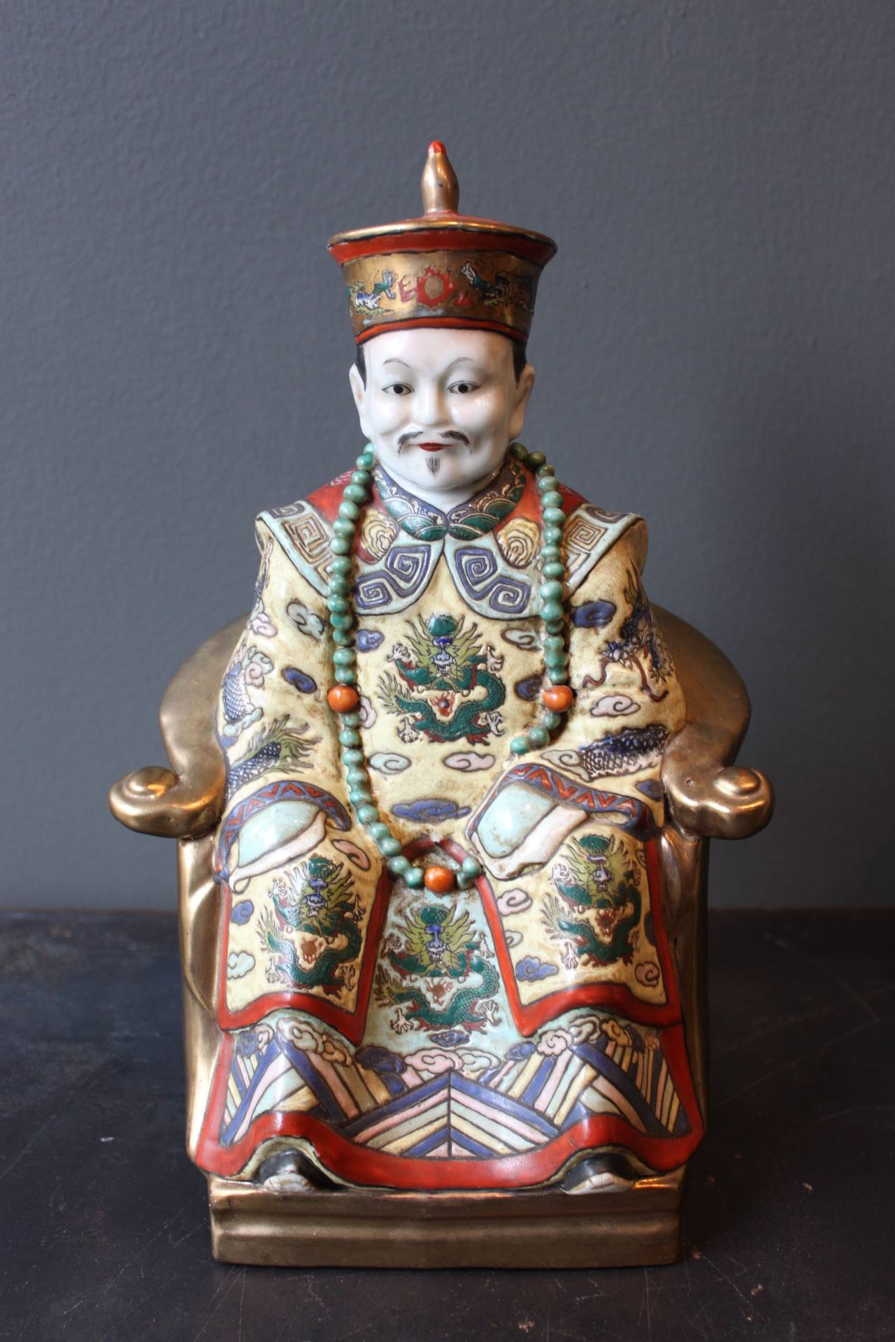 Polychrome Chinese Porcelain Seated Figures Of A Man And Woman At 1stdibs