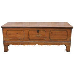 19th Century Rustic Swedish Pine Storage Chest with Original Paint and Apron