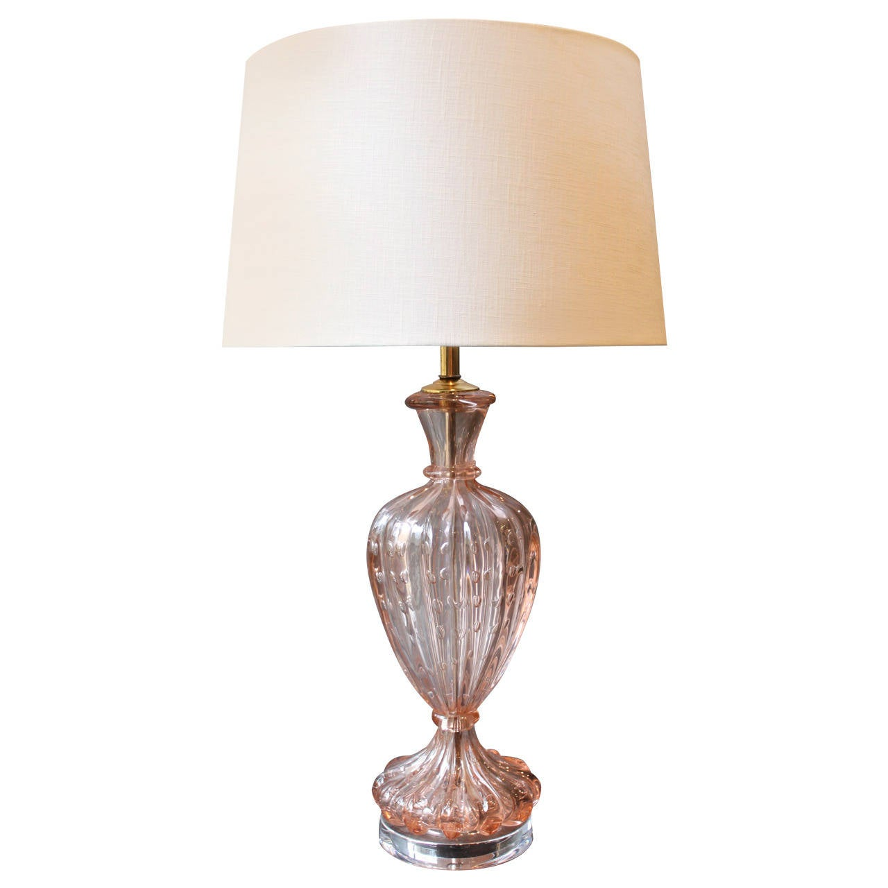 Vintage Pink Murano Lamp On Lucite Base At 1stdibs