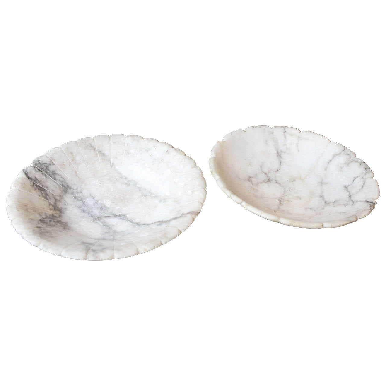 Lot of Two-Carved White Carrara Marble Footed Bowls