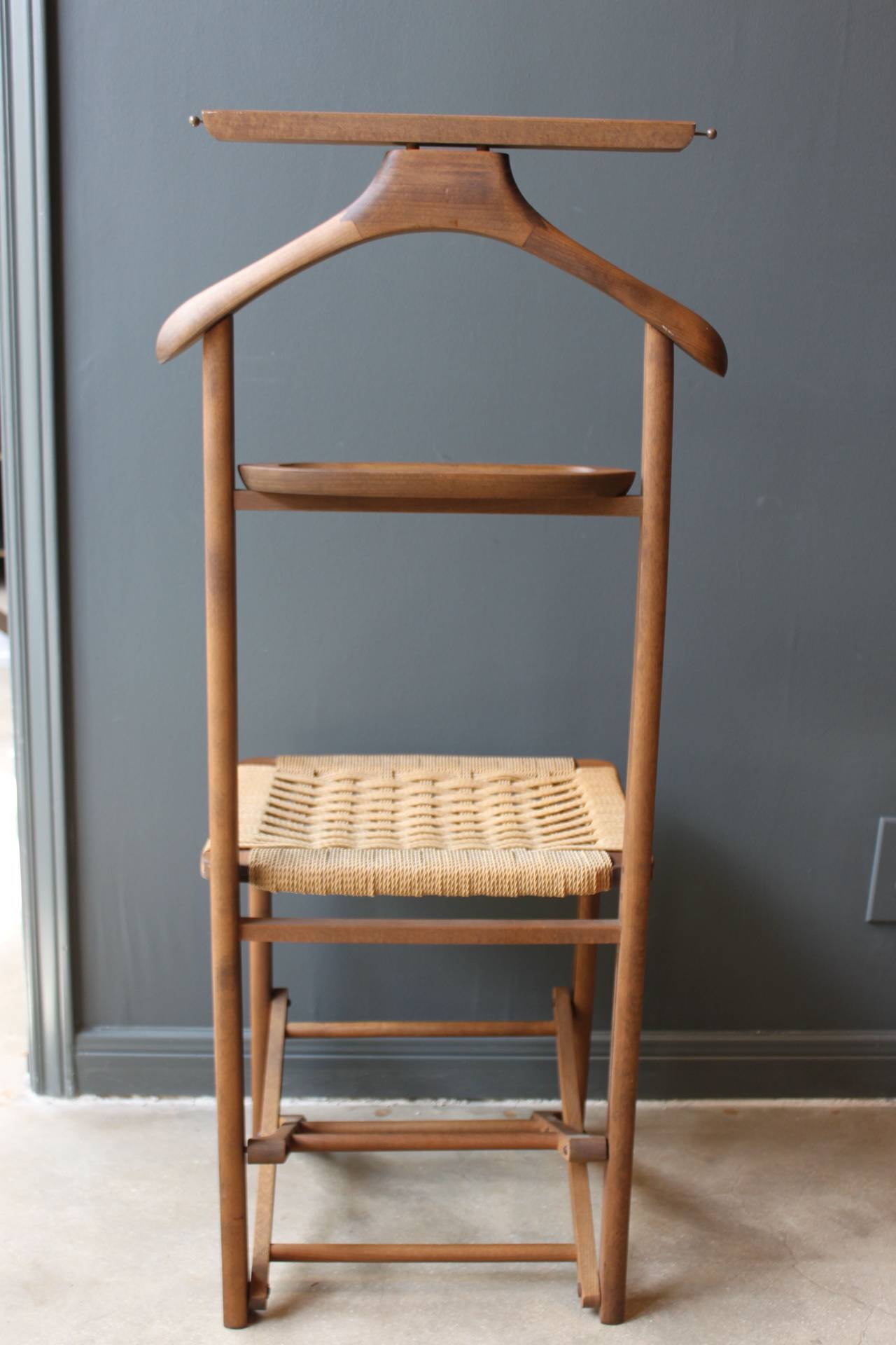 Vintage Wood Valet Folding Chair with Woven Caned Seat Mid 20th