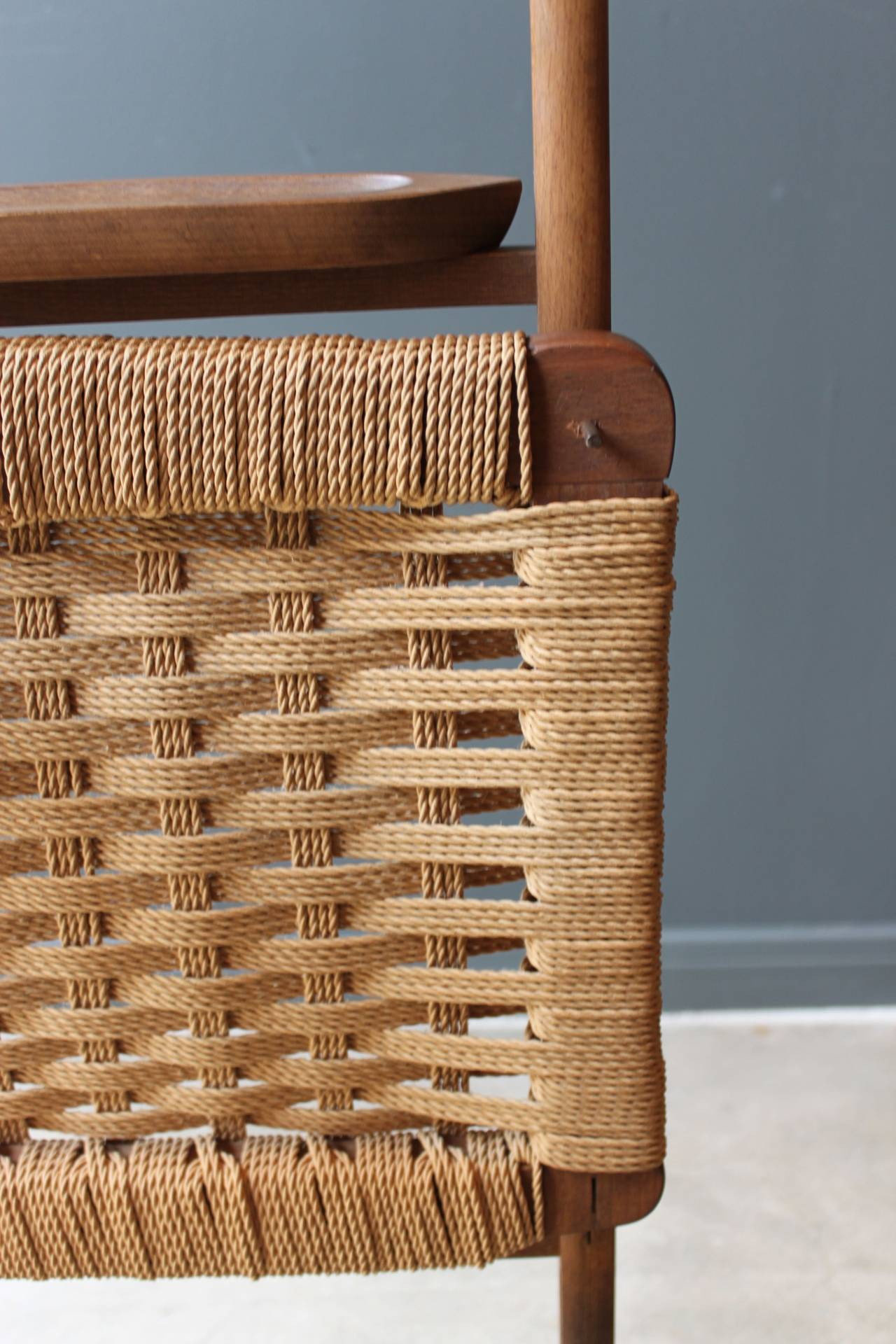 Vintage Wood Valet Folding Chair With Woven Caned Seat