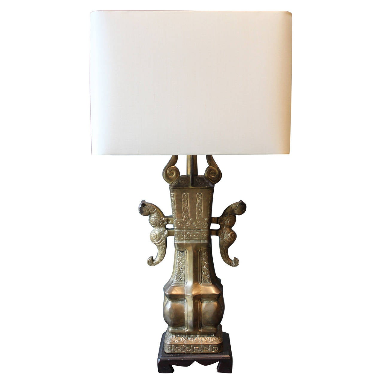 Asian Bronze Lamp in the Style of Marbro, circa 1970