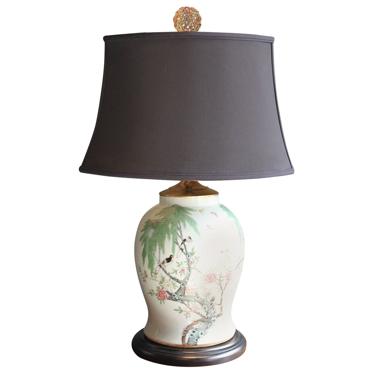 Chinese Ginger Jar Lamp With Painted Scene At 1stdibs