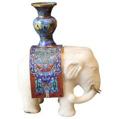 Chinese Marble Elephant with Cloisonne and Brass Tusks