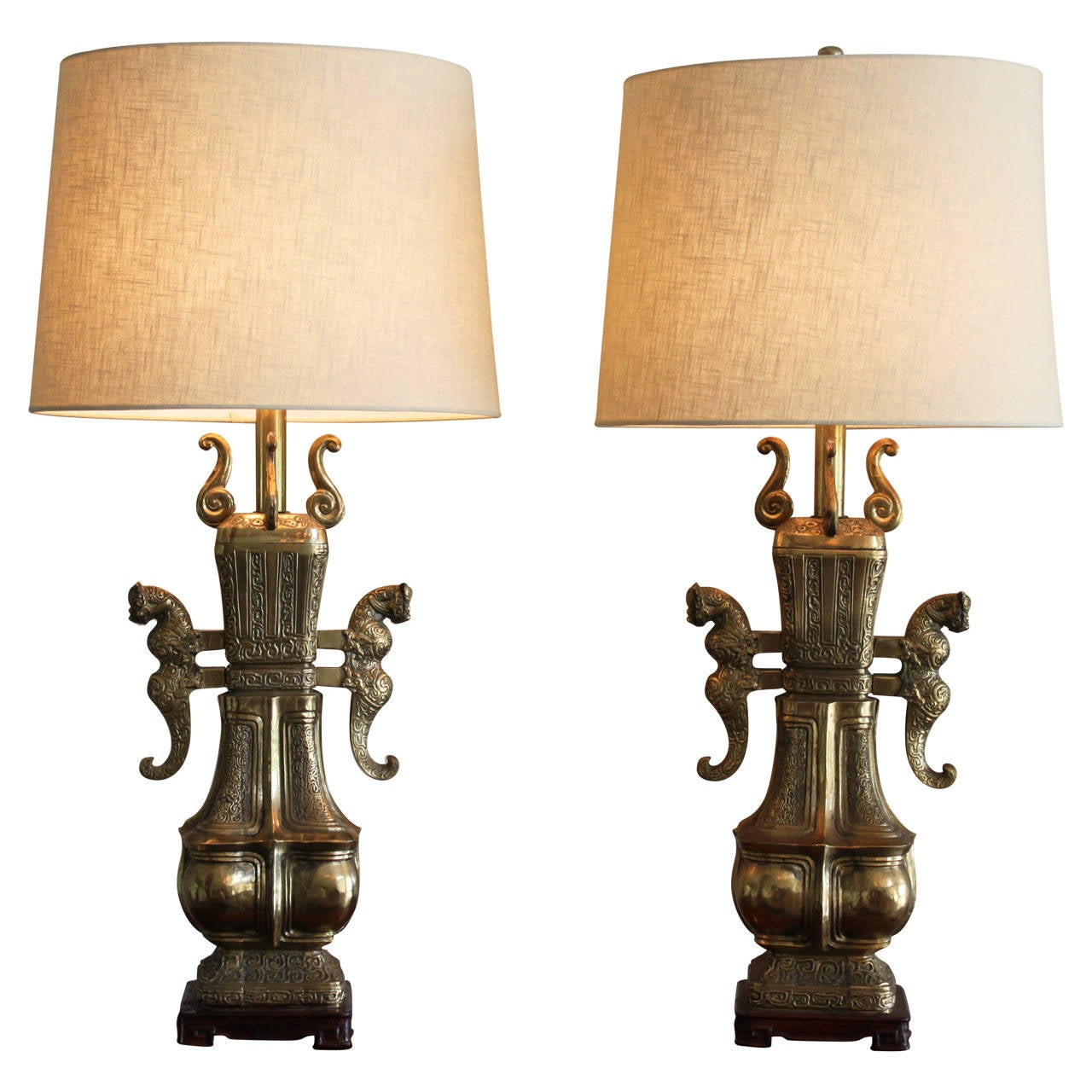 Pair of Monumental Brass Lamps in the Style of Marbro, circa 1970s