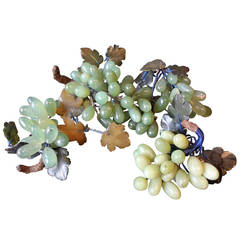 Collection of Four Chinese Jade Grapes on Wood, 20th Century