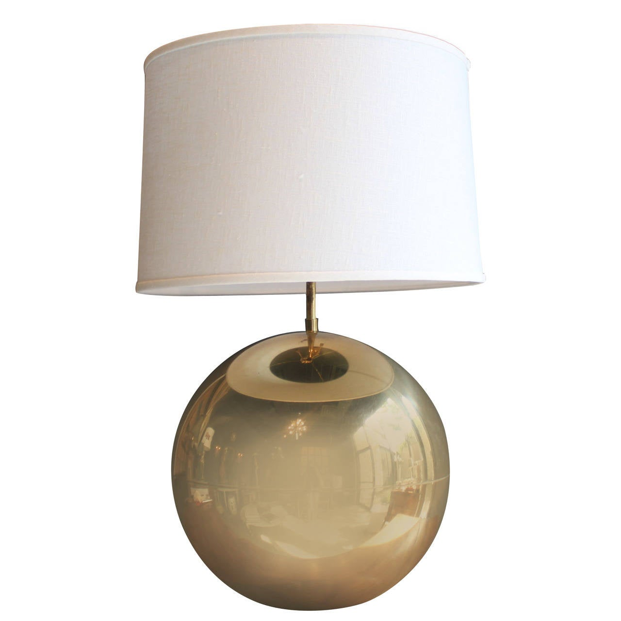 Art deco silver and stacked crystal ball floor lamp at 1stdibs - Mid Century Brass Sphere Karl Springer Table Lamp 1