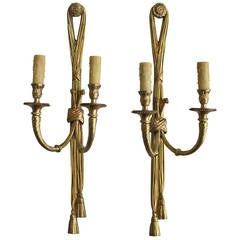 Pair of French Neoclassic Two-Arm Brass Sconces