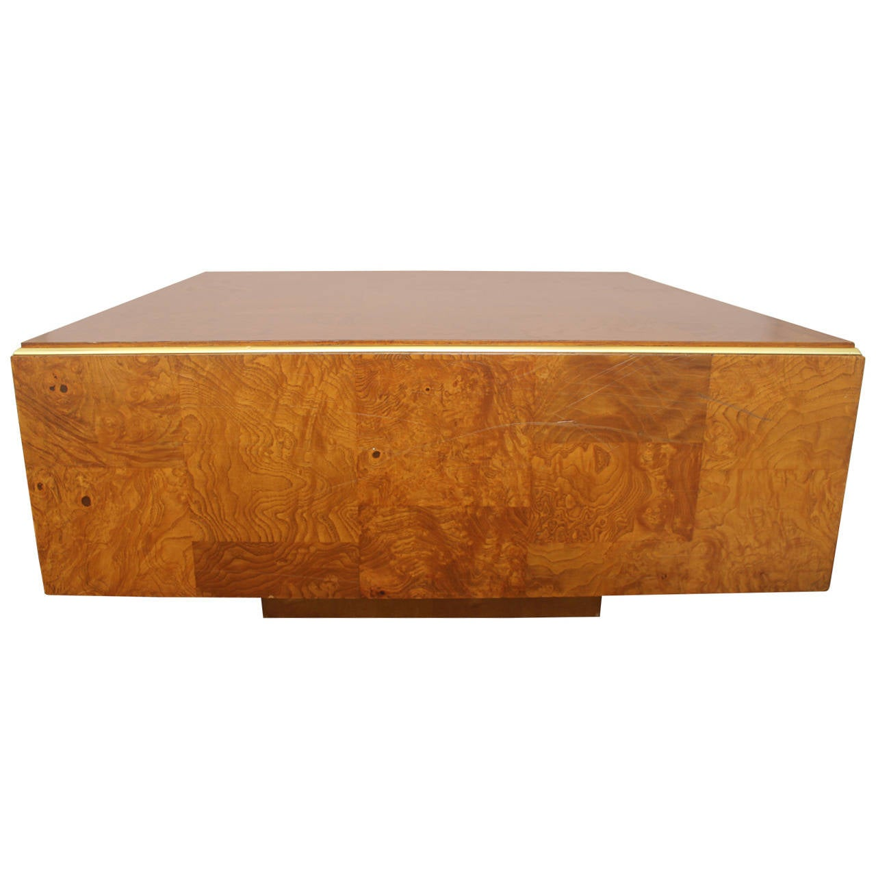 Burl Wood Milo Baughman Square Coffee Table With Brass Trim Circa 1970s At 1stdibs