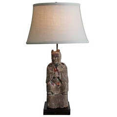 Chinese Polychrome Wood Figure as a Lamp