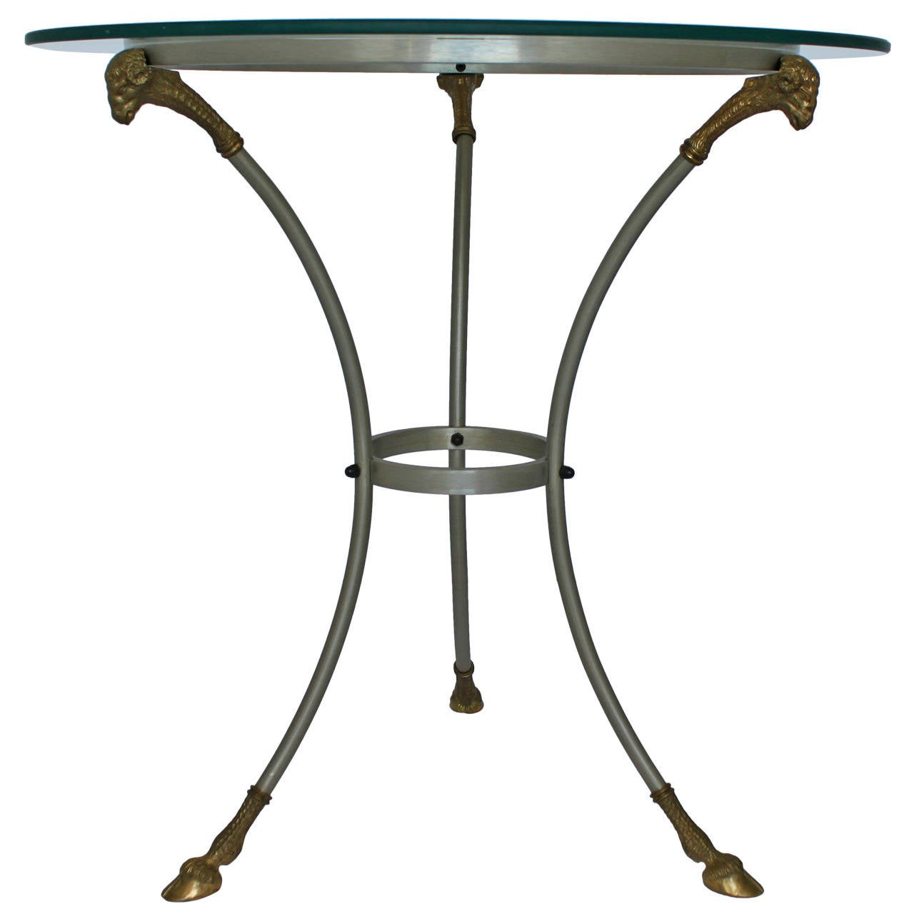 Steel and bronze gueridon table in the style of maison for Table gueridon