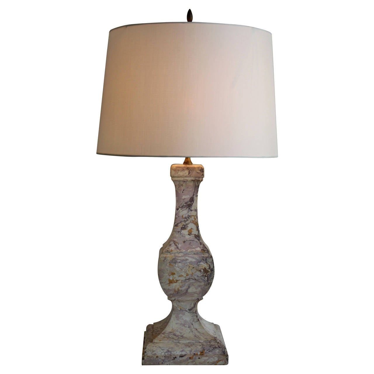 Exquisite and Rare English Marble Baluster Lamp, circa 1930