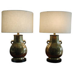 Pair of Frederick Cooper Brass Lamps