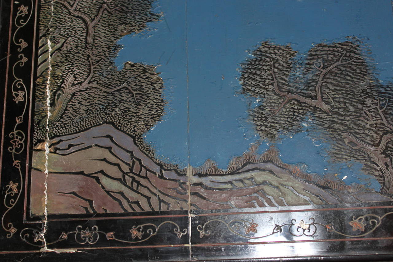 20th Century Chinoiserie Coffee or Cocktail Table with Chinese Screen, circa 1950 For Sale