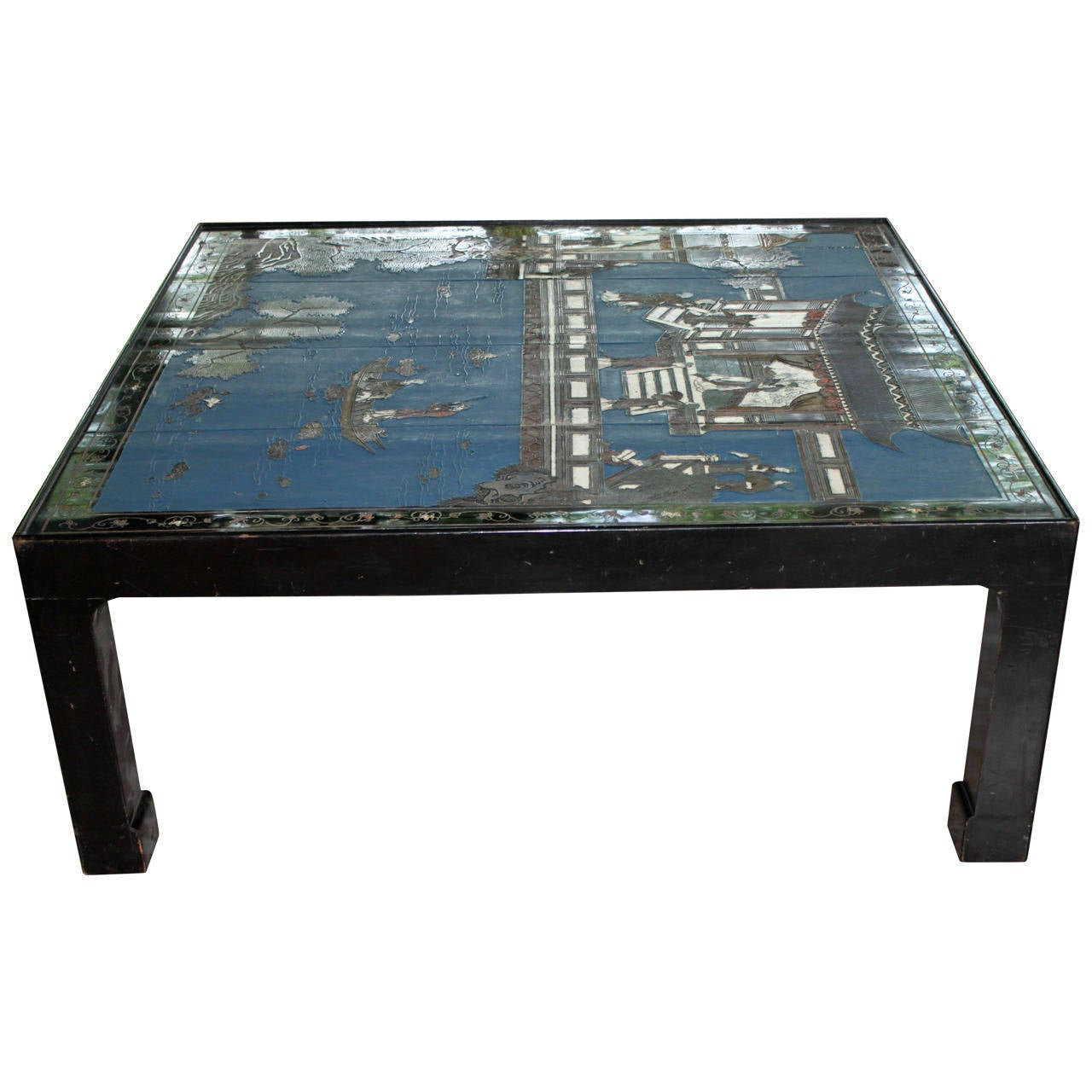 Chinoiserie Coffee or Cocktail Table with Chinese Screen, circa 1950 For Sale