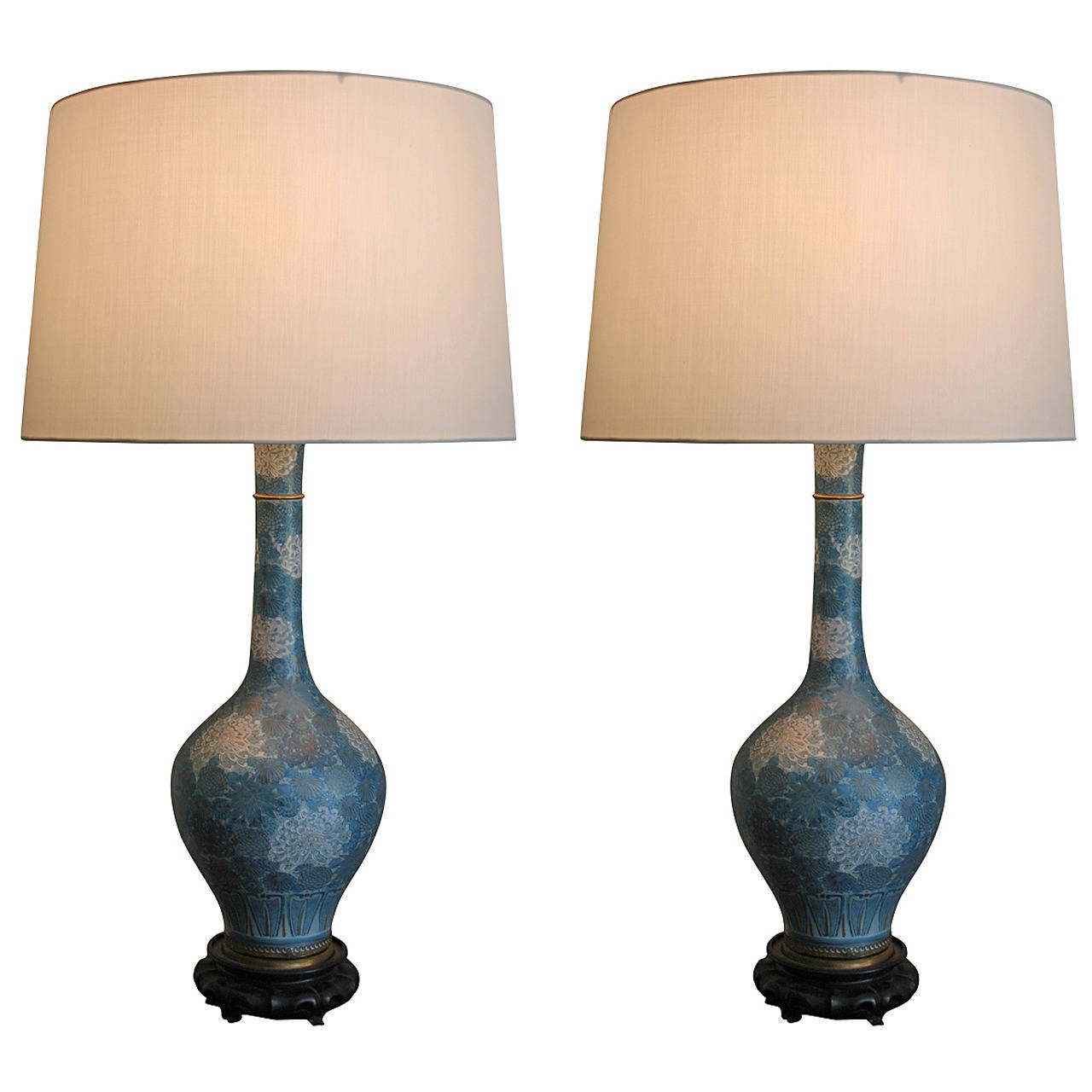 Pair of Chinese Blue and White Porcelain Chrysanthemum Lamps