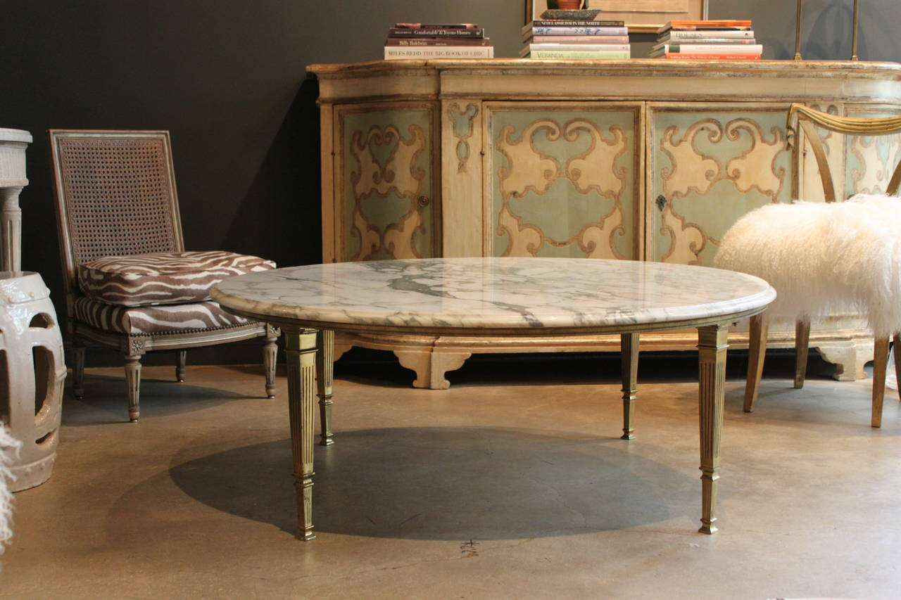 Mid Century Round White Marble And Brass Coffee Or Cocktail Table 2