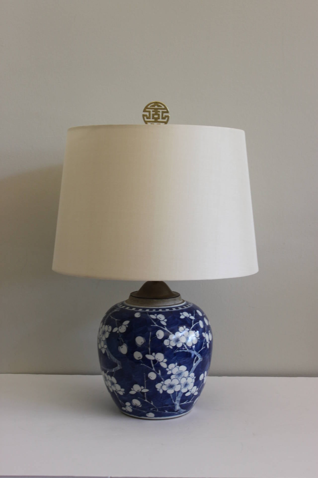 Pair Of Blue And White Chinese Ginger Jar Lamps At 1stdibs
