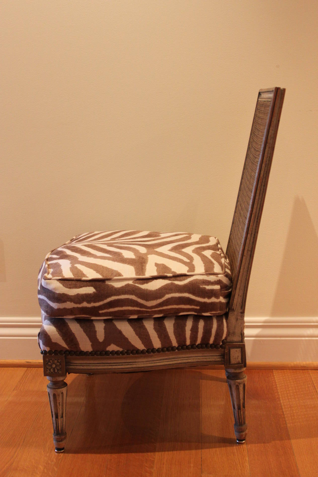 Elegant Louis XVI Style Slipper Chair Or Chauffeuse With A Caned Back And An  Upholstered Seat With