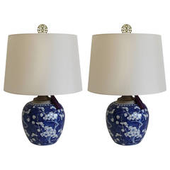 Pair of Blue and White Chinese Ginger Jar Lamps