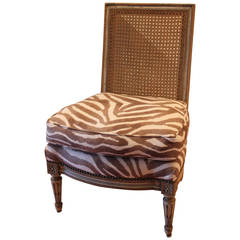 Louis XVI Style Caned Back Slipper Chair with Upholstered Seat, 20th Century