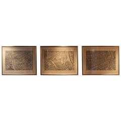 Set of Three Large Copperplate Engravings of Maps of Paris, France, 19th Century