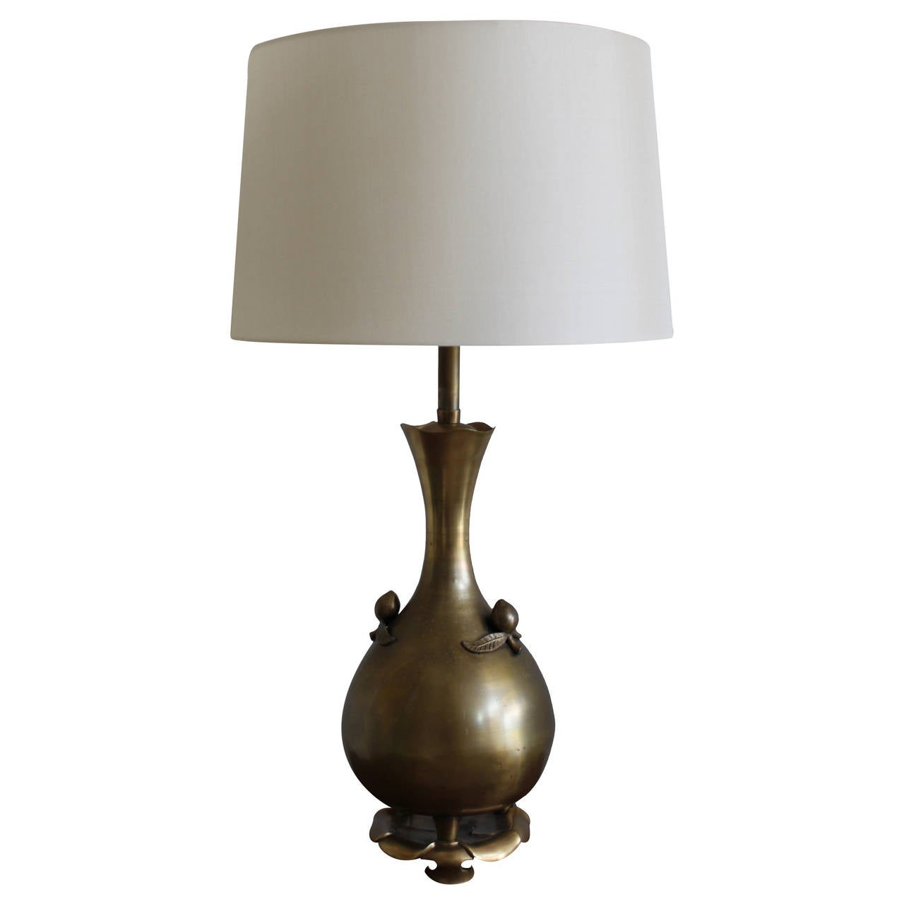 Mid-Century Modern Marbro Brass Lamp with Fruit on a Lotus Base