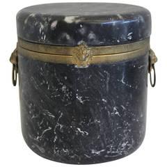 Alabaster Hinged Box or Cylinder Jar