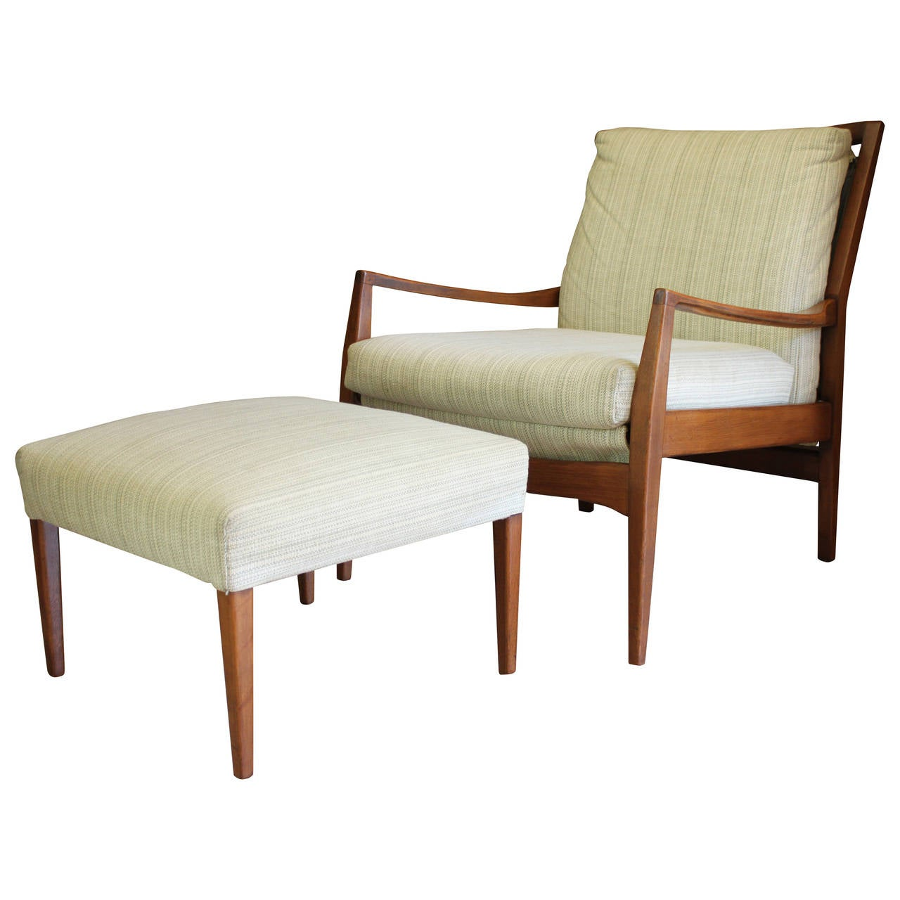 Mid century modern danish teak lounge chair and ottoman at for Modern lounge furniture