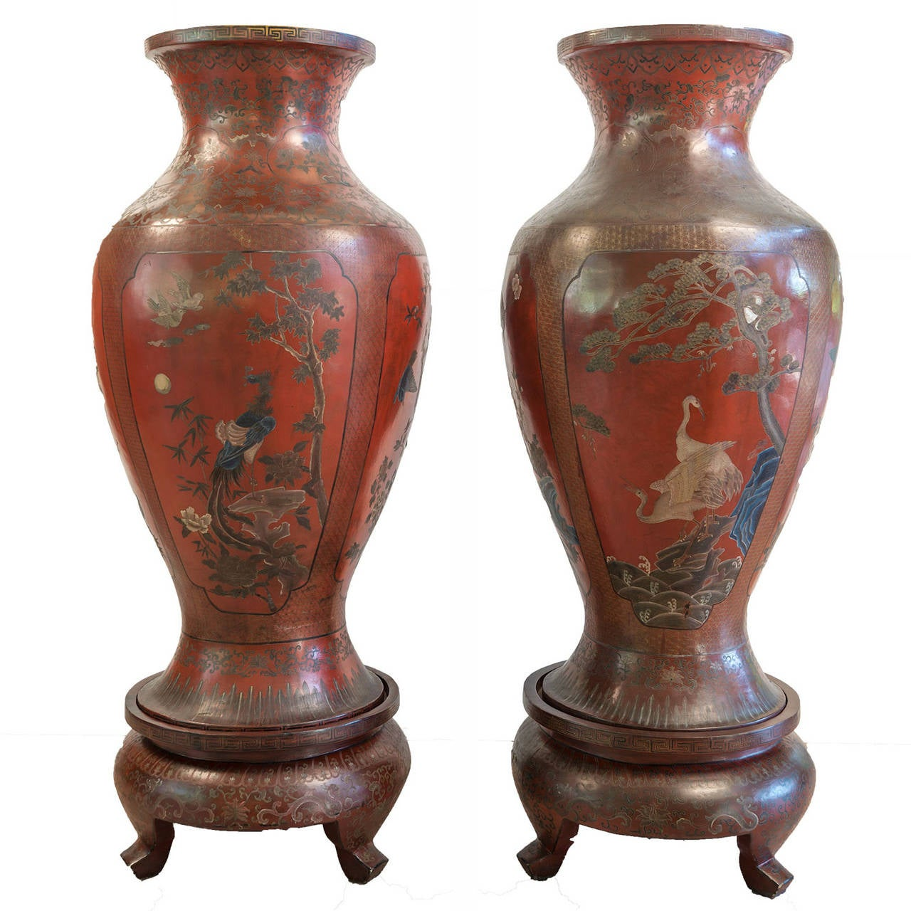 Pair of red lacquer chinese vases 19th century for sale at 1stdibs pair of red lacquer chinese vases 19th century for sale reviewsmspy