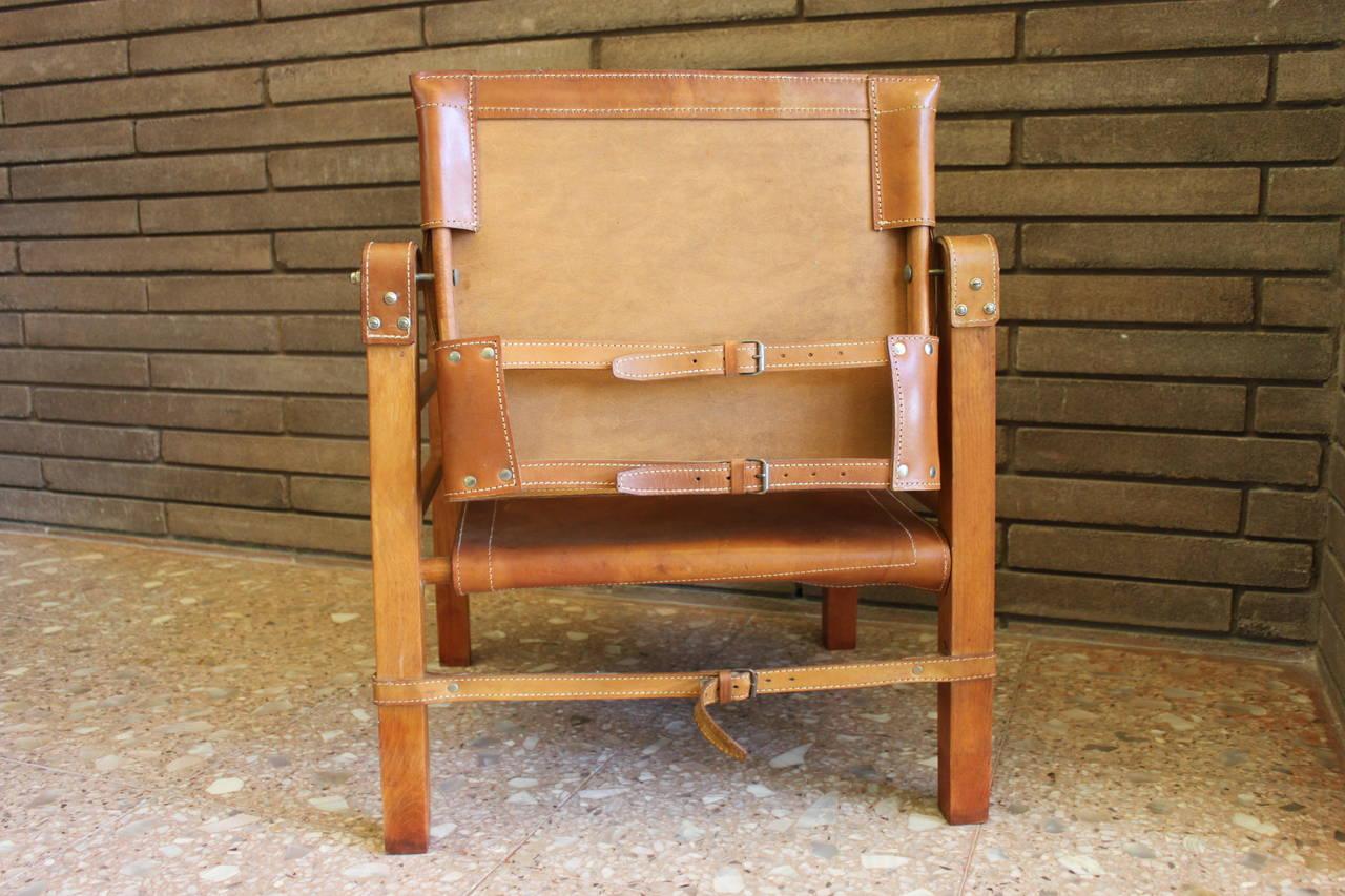 Cognac Leather Safari Chair 6