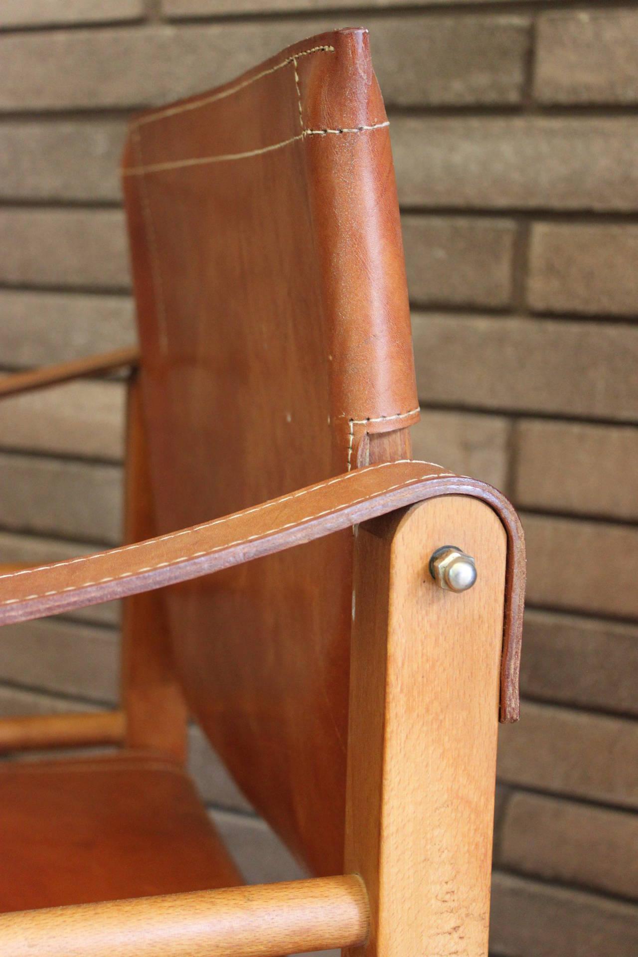 Cognac Leather Safari Chair 2