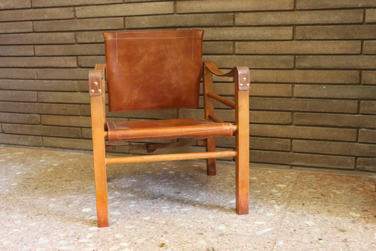 Cognac Leather Safari Chair 3